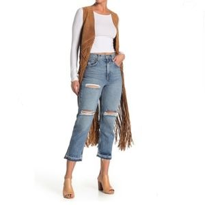 Free People LitaRipped Straight Leg Jeans Sz 27